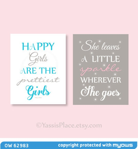 She leaves a little sparkle wherever she goes, Happy Girls are the prettiest- 2 prints - UNFRAMED baby shower gift Nursery decor YassisPl