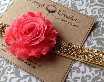 Shabby Flower Headband Coral and Gold Glitter Summer
