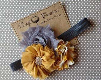 Mustard Yellow & Gray Headband Shabby Flower Frayed Chiffon