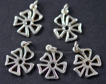 One Sterling Silver Open Work Flower Charm with Open Jump Ring 16 x 12mm