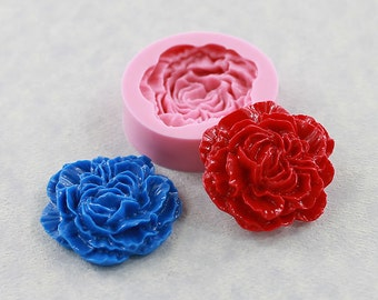 Carnation Flower Mold  Peony Cabochon Silicone Mold/Mould (32mm) (fondant, chocolate, butter, soap, resin, pmc, polymer clay) (214)