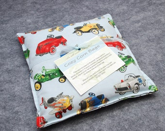 Corn Bag, Microwavable Heat Pack, Heating Pad, Hot Cold Therapy Pillow, Hand Warmer, Muscle Aches, Child Snuggler -- Vintage Cars 9x9