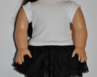 Black and white skirt and top outfit  that fits AMERICAN GIRL DOLLS