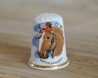 Vintage china thimble - Dutch Draught - Horse breed - Birchcroft - England