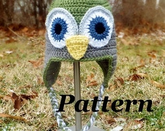 CROCHET PATTERN: Crochet Earflap Owl Hat, Crochet Boys Winter Hat Pattern, Girls Owl Hat, Kids Owl Hat Pattern, baby owl hat pattern