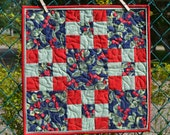 Square Quilted Table Runner, Cherry Red & Green on Navy