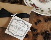 24 Coffee Wedding Favor Kits - Love is Brewing Tag Design - Coffee Favors // Bridal Shower Favors