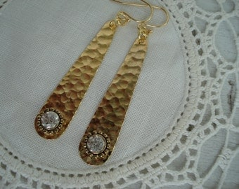 Textured Hammered Gold Dangles Drops Vintage Rhinestone Earrings Native Tribal Inspired