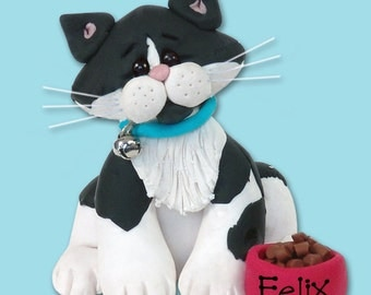 Black & White Tuxedo KITTY CAT HANDMADE Polymer Clay Personalized Christmas Ornament