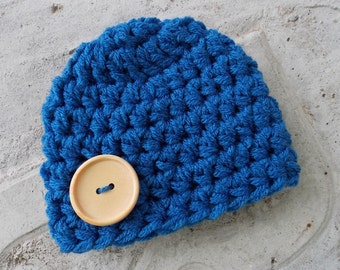Chunky baby hat - blue suede - photo prop - newborn  size only - ready to ship