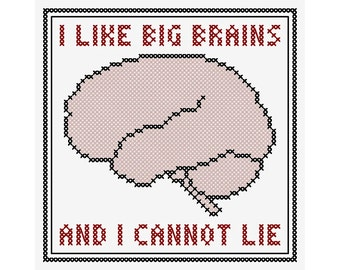 I LIKE BIG BRAINS Cross Stitch Chart