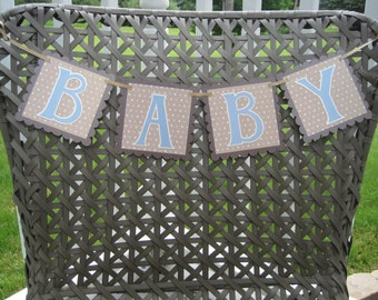 BABY Boy Blue and Brown Polka Dot Pregnancy or Newborn Photo Prop Banner Ready to Ship