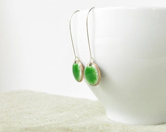 Green enamel earrings - handmade dangle earrings - enamel jewelry dots by Alery