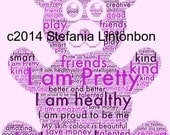 Positive Affirmations Bear Word Photo-Purple- - For Kids and Teens - from- 2 years to Teens- Affirmations - Digital JPEG File Emailed to you