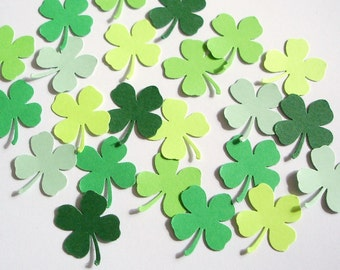 100 St. Patrick's Day Green Shamrock Four Leaf Clover punch die cut confetti embellishments - No954