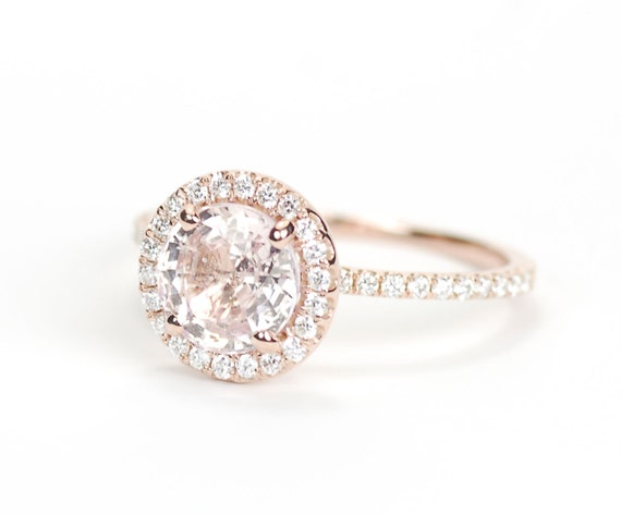 Certified Round Peach Champagne Sapphire Diamond Halo Engagement Ring 14K  Rose Gold