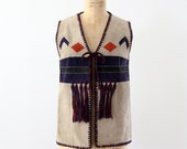 1970s southwestern vest, suede and knit top