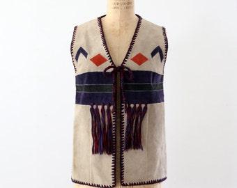 1970s southwestern vest, hippie suede and knit top, vintage boho vest