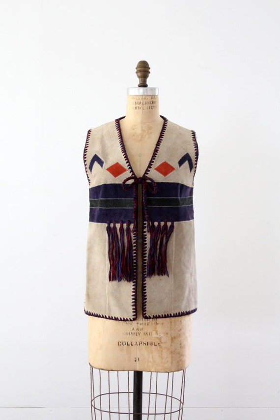1970s southwestern vest, hippie suede and knit top, vintage boho vest