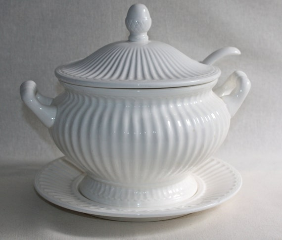 Vintage Soup Tureen With Ladle And Underplate By