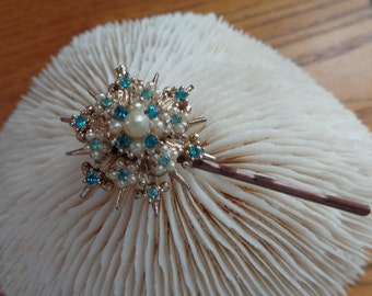 SALE Sea Burst, touch of summer,  Hair Bobby Pin, OOAK  Vintage Gorgeous Pearls & Aquamarine colored stones for   Beach  Lover, Wedding