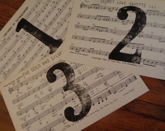 Vintage Table Number Cards,10, created with vintage supplies 1950s MUSIC cards for Weddings, Banquets Music Themed, Old Letterpress, Frame