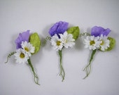 Whimsical Sweet Pea and Daisy Boutonniere, Spring Wedding, Groom, Groomsman, Fairy, Woodland, Boho, Keepsake