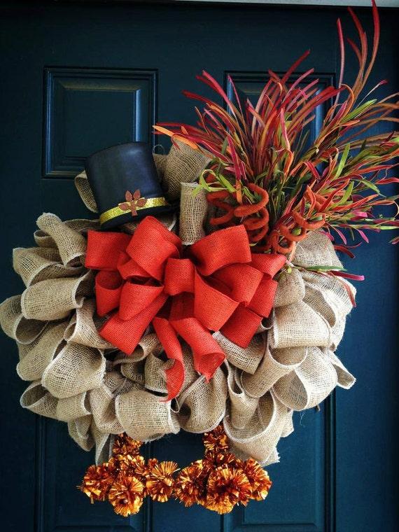burlap turkey thanksgiving wreath by tiffanynewcomb on etsy