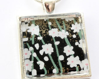 Blossoms at Midnight Chiyogami.  Glass tile pendant