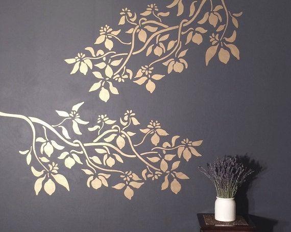 stencil for walls lemon tree branch reusable diy. Black Bedroom Furniture Sets. Home Design Ideas
