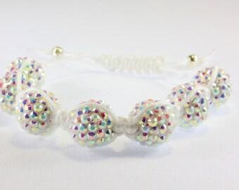 White Aurora Borealis Pave Bead Macrame Bracelet, Bridal, Prom, Glam B13112