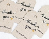 Wedding Favor Tag, Wedding Gift Tag, Bridal Shower Favor Tag, Rustic Calligraphy, Thank You Tag - Set of 25 (SMGT-HAR)