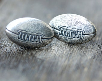 Football Cufflinks Silver Plated Metal Vintage Inspired Style Antiqued Finish Men's Cuff Links & Accessories