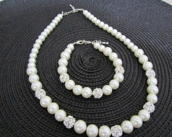 Ivory pearl bridal set  with necklace and bracelet, Pearl bridal set with rhinestone, bridesmaid jewelry set, Ivory pearl jewelry set