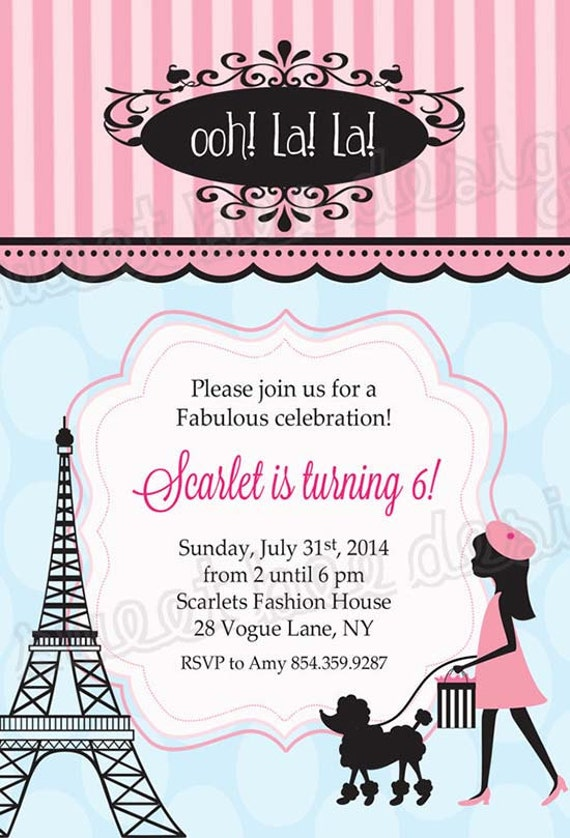 Paris Birthday Invitation French Birthday Party Invitation - Invitation in french to birthday party