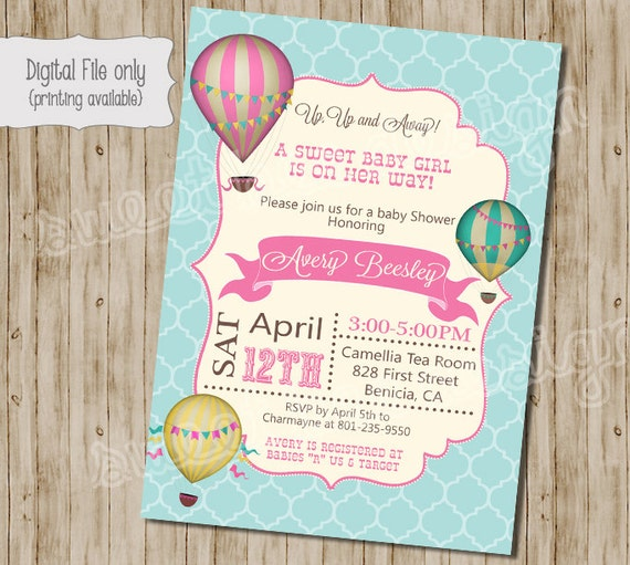 Baby Shower Invitation Hot Air Balloon Baby Shower
