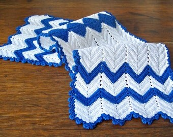 Vintage Crochet Dresser Scarf Doily Royal Blue and White Doily Vanity Scarf vintage 1960s
