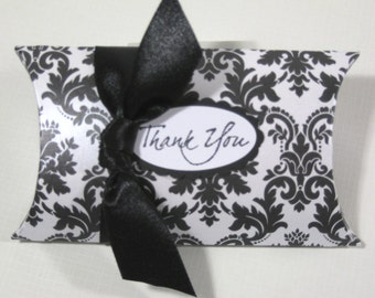 10 Black and White Damask Pillow Favor Boxes - Black and White Damask Wedding Favors - Bridal Shower Favors - Pillow Boxes