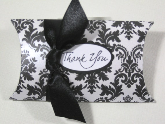 Black And White Damask Favor Boxes : Black and white damask pillow favor boxes