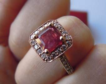 1.4 ct RUBY Cathedral Mounted Diamond Ring 14k Rose and White Gold