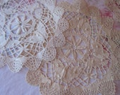 Lot 4 Antique Vintage Handmade Bobbin Lace Needlelace Butterfly Doily Dresser Linen M41