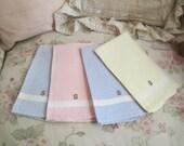 4 Vintage Pastel Linen Swedish Diamond Woven Embroidered Monogram Letter S Kitchen Towels S59