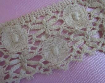 Antique Italian Crochet Needle Reticella Lace Trim Ecru Tan Dragonfly  Dots 1.75 Inch Wide Craft Doll Clothes L39