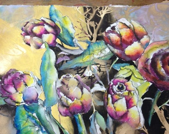 Mixed Media Floral Painting