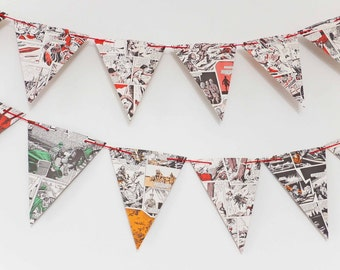 SALE Boy's Party Decor - Victor Bunting - upcycled paper garland - Eco-Friendly Bunting - Boy Bedroom Decor, Playroom decoration