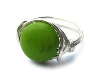 Green Cocktail Ring - Wire Wrapped Jewelry - Silver Rings - CIJ - Christmasinjuly - Christmas in July