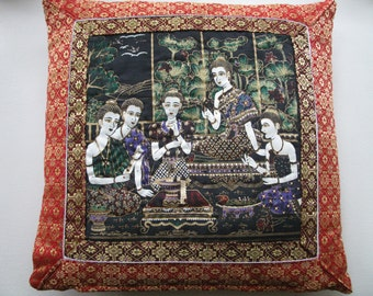 Red Scenic Pillow Cover. Asiatic Women  16x16 inches