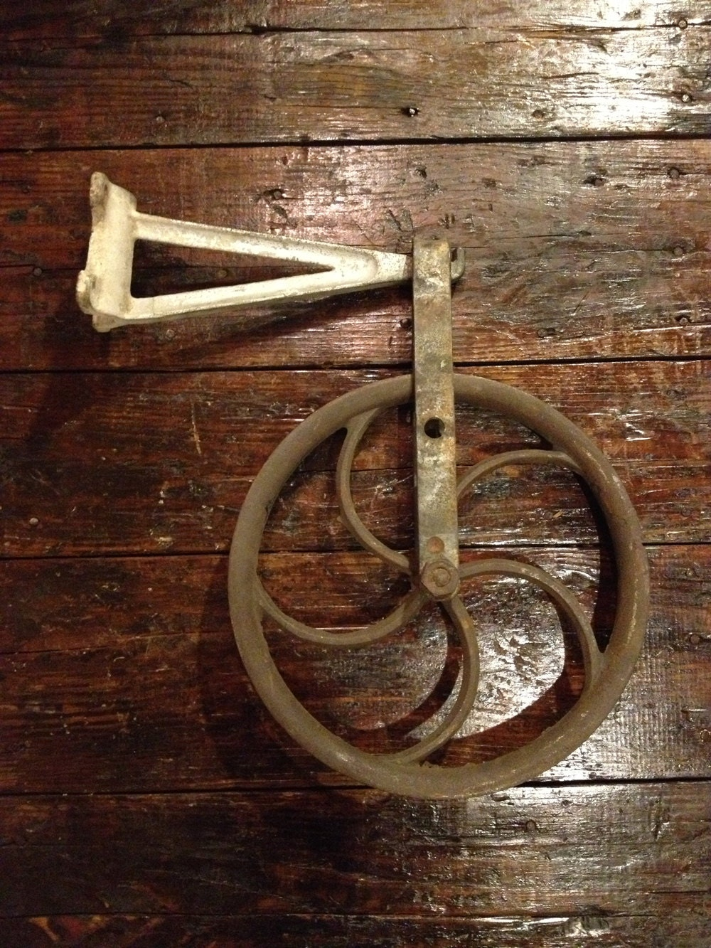 Cast Iron Pulleys For Sale : Vintage cast iron pulley hay wheel machine age rustic