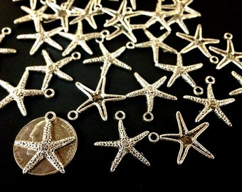 100 gram - Antique Silver Starfish Charms or Pendant - Nautical Charm - about 111 charms