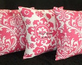 Throw Pillow Covers - Set of Three 18 Inch - Cotton Candy Pink and White